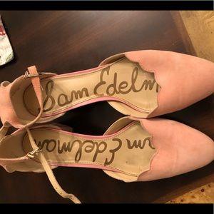 Sam Edelman scallop d'orsay block heel pink suede